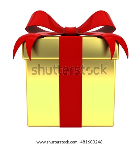 Gold gift box with red ribbon bow isolated on white background. 3D rendering.