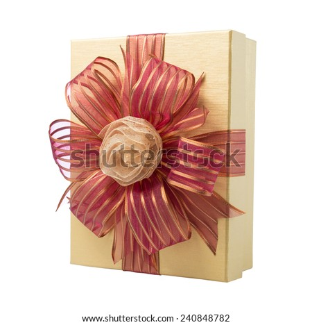 Gold Gift Box with Rose Ribbon and Red Ribbon isolated on white background - stock photo