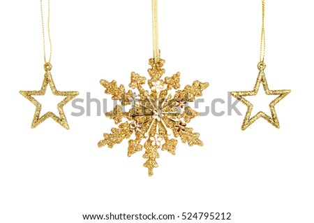 Gold glitter christmas star decorations isolated against white