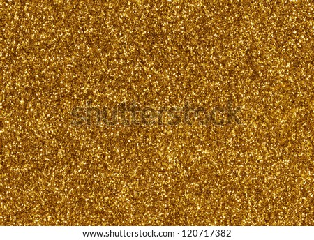 Gold glitter macro texture close up background. - stock photo