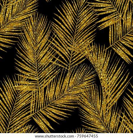 Gold Glitter Palm Leaves On Black Background Seamless Hand Drawn Pattern High Quality Jpg