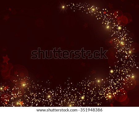 Gold glitter texture on dark red burgundy background. Golden star dust trail with sparkling stars. Gold shining stars on deep red sparkles background. VIP Party 2016 invitation. Happy Holidays 2016. - stock photo