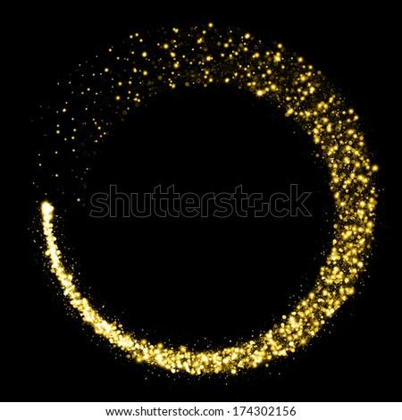 Gold glittering star dust circle - stock photo