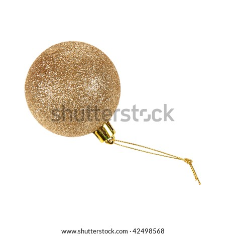 Gold glittery christmas ball  isolated on white - stock photo