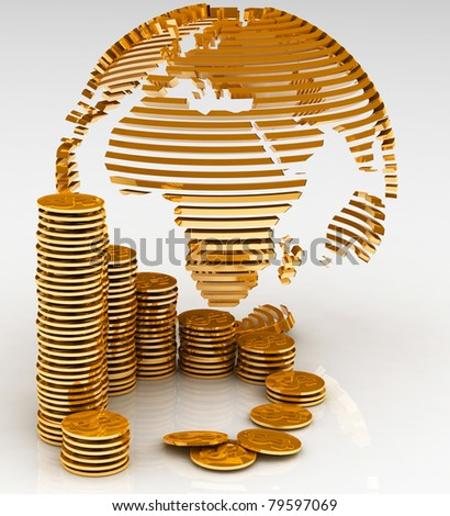 Gold globe with many gold coins - stock photo