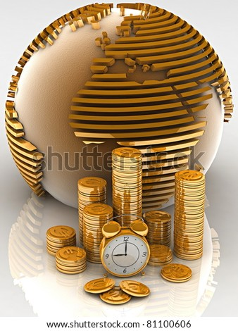 Gold globe with many gold coins and clock - stock photo