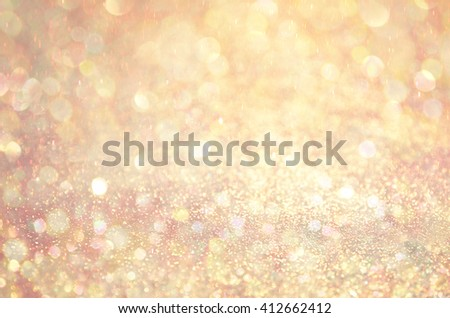 Gold Glow glitter background. Elegant abstract background with bokeh  - stock photo