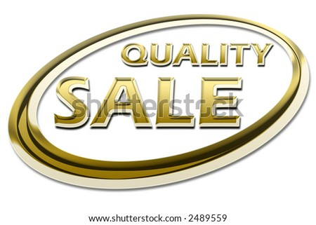 gold, golden quality sale sign symbol on white background - stock photo