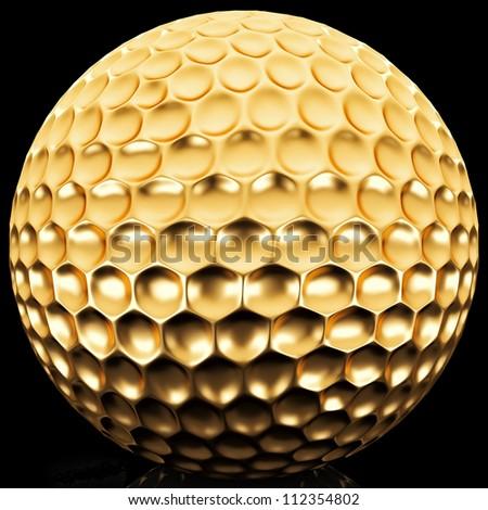 Gold golf ball - stock photo