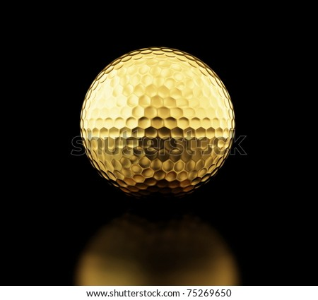 gold golf ball on black background - stock photo