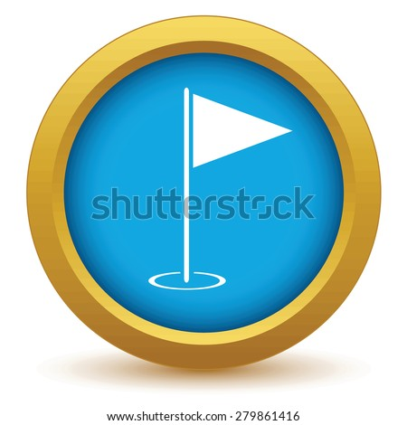 Gold golf flag icon on a white background - stock photo