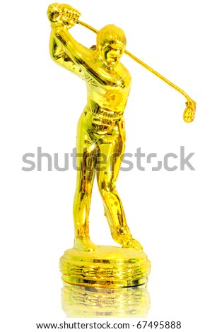 gold golfer - Golf winning prize - stock photo