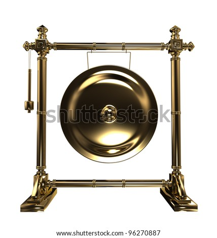 Gold gong - stock photo