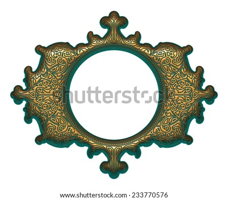 Gold-green frame isolated on white background - stock photo