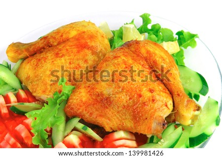 gold grilled chicken leg served with vegetables
