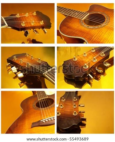 gold guitar - stock photo
