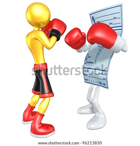 Gold Guy Boxer Versus Medical Prescription - stock photo