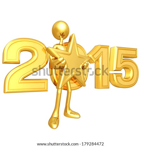 Gold Guy Holding A Gold Star - stock photo