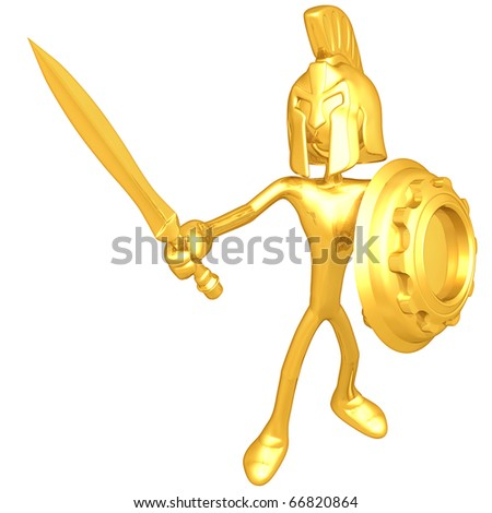 Gold Guy Spartan With Gear Shield