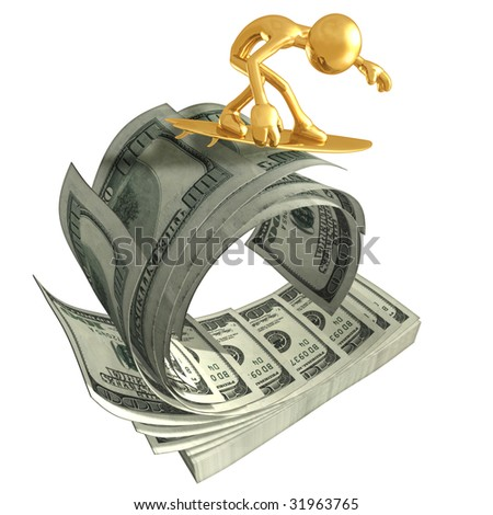 Gold Guy Surfing On Money Wave - stock photo