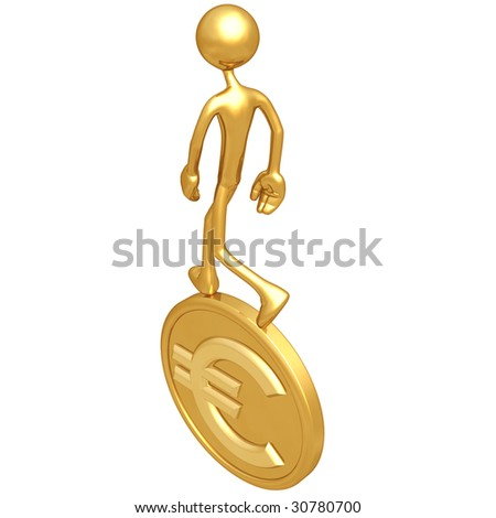 Gold Guy Walking On Gold Euro Coin