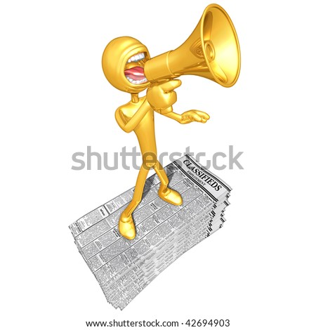 Gold Guy With Employment Classifieds - stock photo