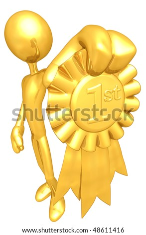 Gold Guy With Gold 1st Place Ribbon - stock photo