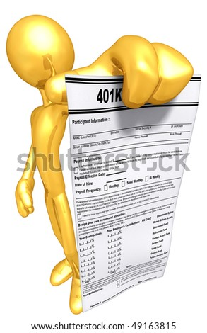 Gold Guy With 401K Form - stock photo