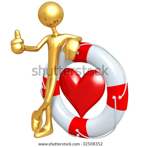 Gold Guy With Life Preserver Heart - stock photo