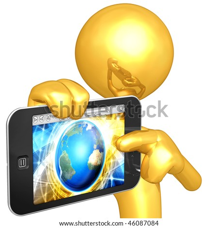 Gold Guy With Mobile Touch Screen Device - stock photo