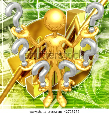 Gold Guy With Questions - stock photo