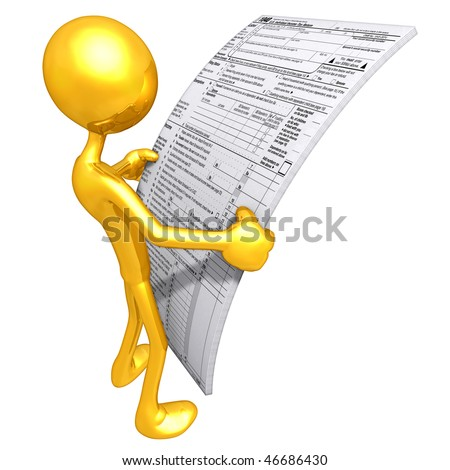 Gold Guy With Tax Forms - stock photo