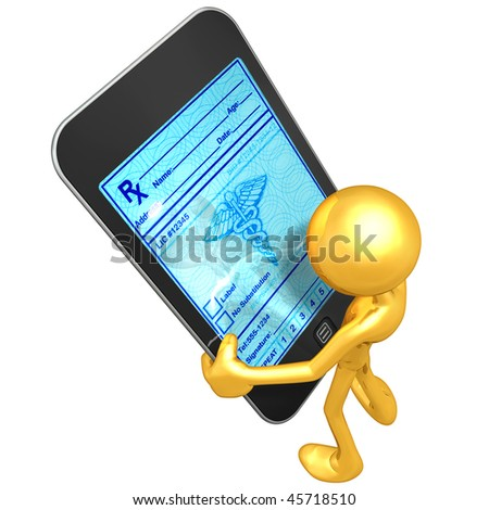 Gold Guy With Touch Screen Medical Prescriptions - stock photo