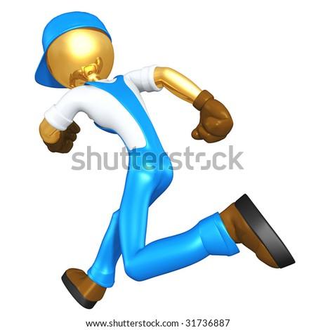 Gold Guy Worker Running - stock photo