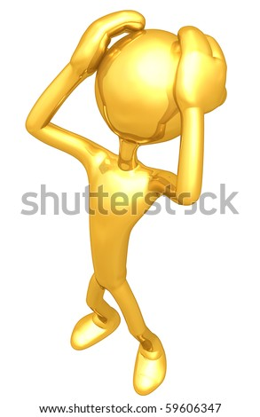 Gold Guy Worry - stock photo