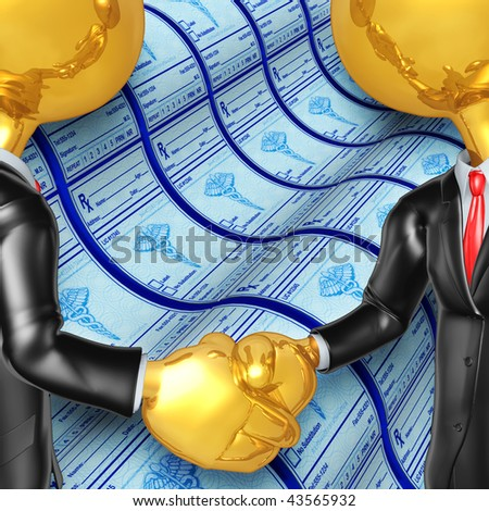 Gold Guys Medical Prescriptions Handshake - stock photo