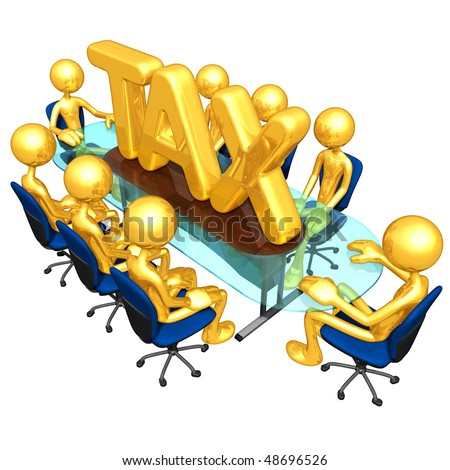 Gold Guys Tax Meeting Concept - stock photo