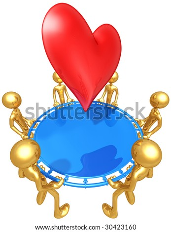 Gold Guys With Safety Net Catching A Heart - stock photo