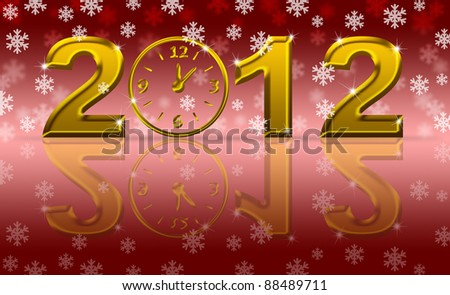 Gold 2012 Happy New Year Clock with Snowflakes and Reflection - stock photo