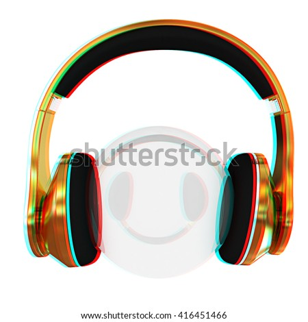 Gold headphones icon on a white background. 3D illustration. Anaglyph. View with red/cyan glasses to see in 3D. - stock photo