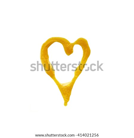 Gold heart. Golden glitter metal sign shape isolated on white background. Symbol love, romantic, holiday. Valentine Day vintage concept Design element Template for invitation