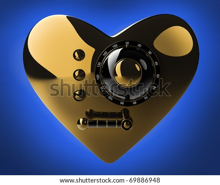 Gold heart safe isolated on blue background. 3D render