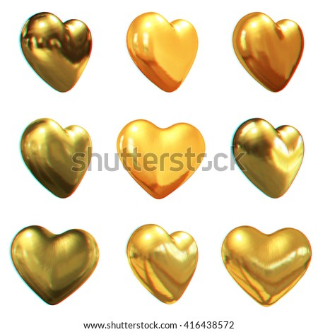 Gold hearts set for wedding design on a white background. 3D illustration. Anaglyph. View with red/cyan glasses to see in 3D. - stock photo