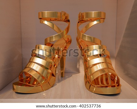 Gold high heels on shelves of shop closeup - stock photo
