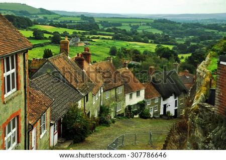 Gold Hill, Shaftesbury, England - stock photo