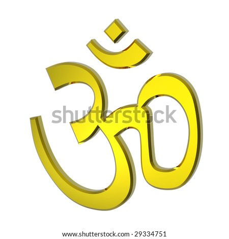 Gold Hinduism symbol. Computer generated 3D photo rendering.