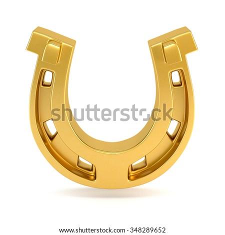 Gold horseshoe isolated on white background. 3d illustration. - stock photo