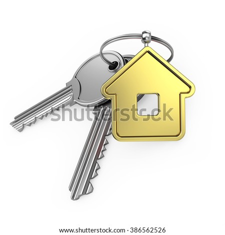 gold house and steel key, on a white background, 3d render - stock photo