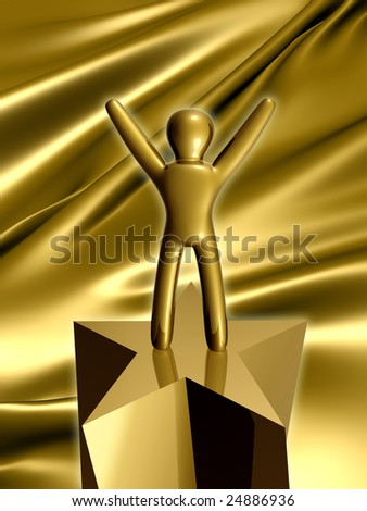 Gold icon figure on success pose