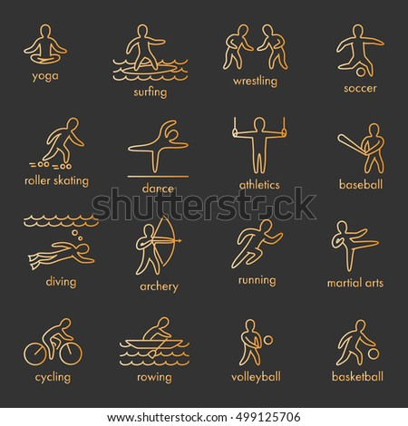 Gold icons of sportsmen on white background. Set of linear figures of athletes of water and summer sports. Line figure athletes popular sports.